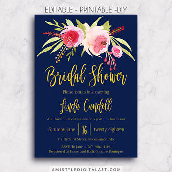 Bridal Shower, Navy Blue, Floral Bridal Shower, Shower Invitation, Wedding Printable, Wedding Invitation, Floral Bridal, Printable Bridal