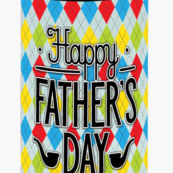 Happy Father's Day Argyle Tall Boy Beverage Insulator Hugger BB5439TBC