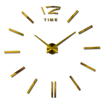 3d home decor quartz diy wall clock clocks horloge watch living room metal Acrylic mirror