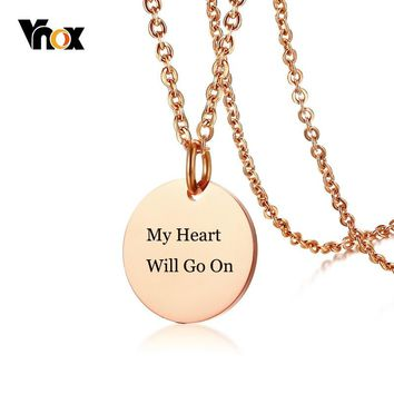 Vnox Coin Necklaces for Women Free Engraving Name Date Love Logo Info Stainless Steel Round Circle Colar Gifts Accessories