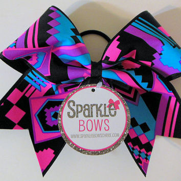 Aztec Black Large Cheer Bow Hair Bow Cheerleading