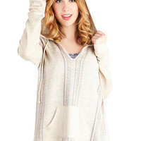 ModCloth Boho Mid-length Long Sleeve Hoodie Beachy Evening Sweater