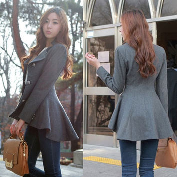New Fashion Women Korean Dovetail Slim Wool Coat Ladies Designer Irregular Long Blazer Winter Outwear Windbreaker Female = 1929873860