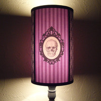 Baroque Skull Purple Lamp Shade Lampshade - skull lamp shade,skull housewares purple lamp,,Halloween decor,customizable colors,goth decor