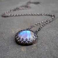 Moonstone and Sterling Silver Fire and Ice Necklace by lsueszabo