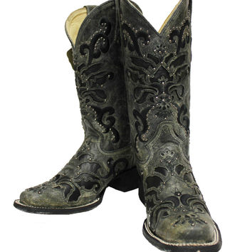 Corral Black Crater Western Boots with Studs A1130