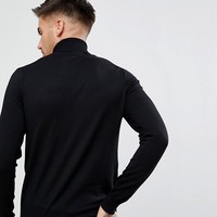 River Island Roll Neck Sweater In Black at asos.com