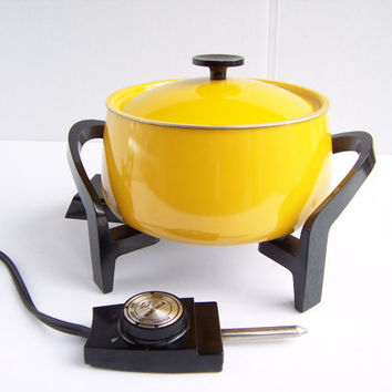 Vintage MCM West Bend Electric Fondue Pot Bright Yellow