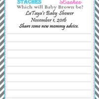 Stache or Lash Gender Reveal Baby Shower Advice Cards