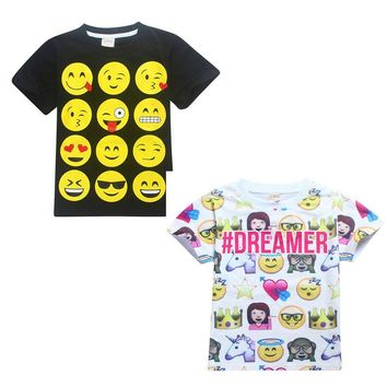 2 Styles Cute Emoji Emoticons Smiley Faces Cosplay T-shirts Children Summer Casual Dreamer Kids Short Costume Tops