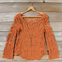 Laced in Snow Blouse in Rust