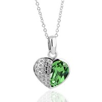 18KGP Green Crystal Accent and Pave Heart Pendant Necklace