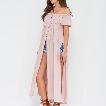 Trip Out West Off-Shoulder Slit Maxi