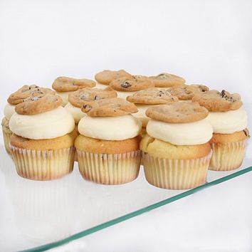 """Shop 12-count Vanilla with Chocolate Chip Cookie Dough """"Half-Baked"""" Gourmet Cupcakes at HSN mobile"""