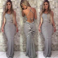 Summer Backless Stripe Women Boho Maxi Dress