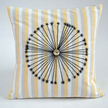 Cushion / Pillow Cover Hand Embroidered made from upcycled vintage bed linen and incorporating vintage buttons