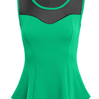 LE3NO Womens Sleeveless Scoop Neck Mesh Peplum Top with Bow Detail (CLEARANCE)