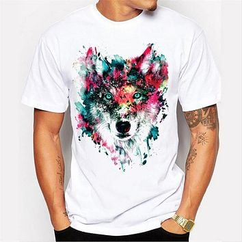 Summer men's 3D cool wolf Hip hop Design Clothes Casual print personality straight white T-shirt