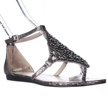 Vince Camuto Valeen Ankle Strap Flat Sandals - Steel