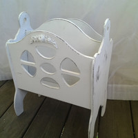Shabby Chic White Magazine Rack Book Rack Handpainted Distressed Rose Appliques Vintage Farmhouse Beach Home Decor