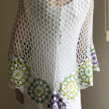 Hand Crochet Women Shawl / White and Spring Colors Shawl / Ready to Shipping