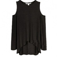 Black High Low Pullovers with Cold Shoulder