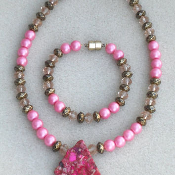 "Xtra  Pink  Little Ladies -  2 Piece  15"" Necklace with Pendant and  7"" Bracelet Set"