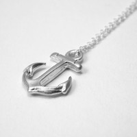 Anchor necklace, small silver anchor necklace, tiny ancor, hope necklace, nautical jewlery, nautic necklace, sterling silver necklace, gift