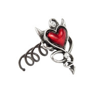 Alchemy Gothic Red Devil Heart Hair Screw w/ Horns & Tail