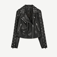 FAUX LEATHER JACKET WITH METALLIC DETAILS DETAILS