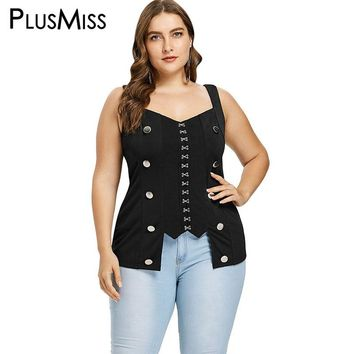 PlusMiss Plus Size 5XL XXXXL XXXL XXL Sexy Button Gothic Punk Rock Tunic Tank Tops Women Black Sleeveless Vest Ladies Big Size