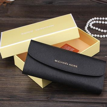 """Michael Kors"" Women MK Purse Simple Fashion Multilayer Long Section Button Three Fold Wallet Handbag"