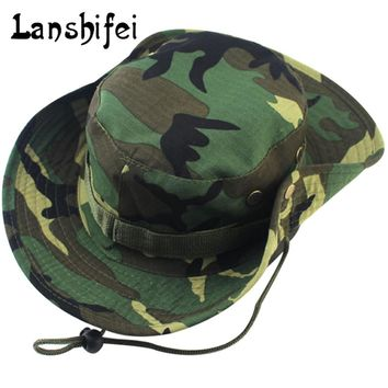Military Camouflage Bucket Hats Jungle Camo Fisherman Hat with Wide Brim Sun Fishing Bucket Hat Caps 8 Styles