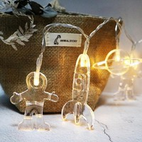 Battery Powered 10LEDs Spaceman Rocket Universal Shaped Indoor Fairy String Light For Christmas