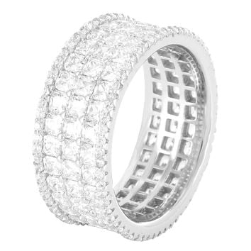 Sterling Silver Princess Cut 3 Row Men's Iced Out Ring Band