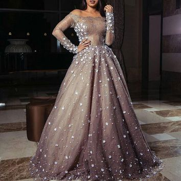 Ball Gown Long Sleeves Evening Dress Boat Neck Off Shoulder See Through Lace Top Sexy Party Dress With Pearls Flowers