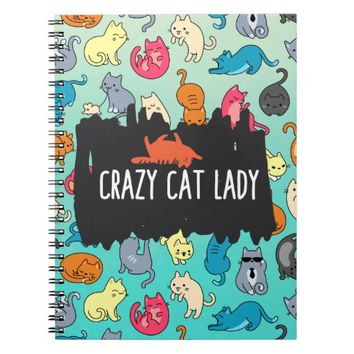 Crazy Cat Lady Cute and Playful Cat Pattern Spiral Notebook