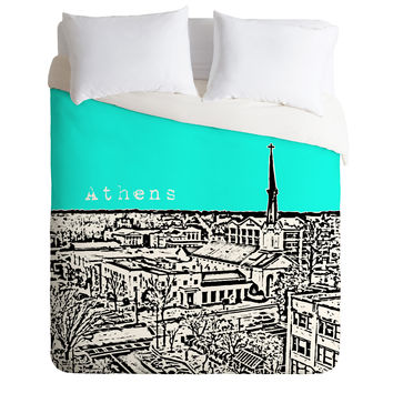 Bird Ave Athens Aqua Duvet Cover
