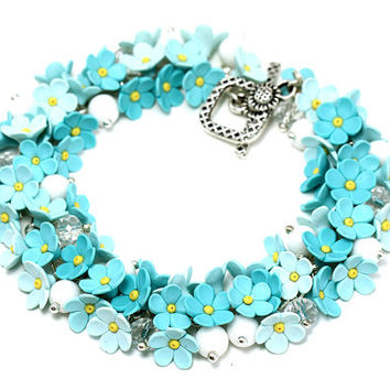 "Floral Bracelet ""Forger Me Not"" MADE TO ORDER Floral Jewelry with Little Flowers Feminine Bridal Bracelet Turquoise Bracelet Gift for Her"