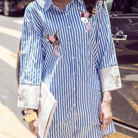 Blue and White Long Sleeve Striped Shirt Dress