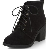Wide Fit Black Lace Up Block Heel Ankle Boots