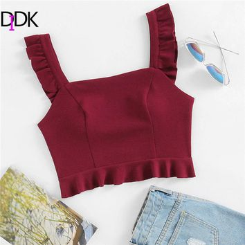 DIDK Burgundy Spaghetti Strap Vest Solid Ruffle Crop Top 2018 Summer Women New Arrival Regular Fit Popular Vest