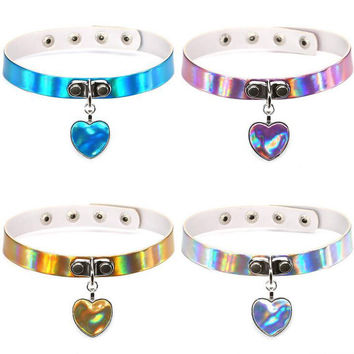 Opshineqo 2017 Laser Heart Necklace Gothic Punk Choker Holographic Hologram PU Leather Choker Collar Necklace Jewelry for Women