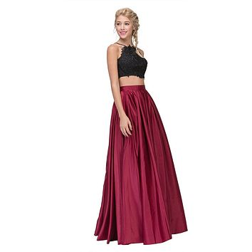 Two-Piece Long Prom Dress Black Lace Crop Top and Satin Skirt Burgundy