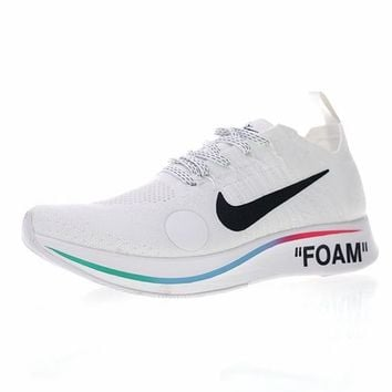 "Fifa World Cup! Off-White x Nike Zoom Fly Mercurial Flyknit Running Shoes ""OW WHITE"" AO2115-100"