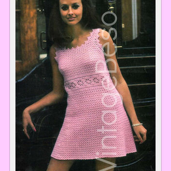 Instant Digital Download Vintage Crochet Pattern to make a Ladies Chic Lacy Empire Line Sleeveless Mod Dress with Picot Edging 4 ply & DK