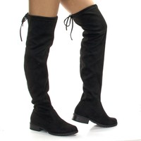 JalenH4 Black Stretch Pull On Over Knee Thigh High w Back Lace & Block Stacked Heel