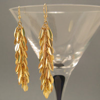 Earrings-Gold Plated Teardrop Dangle Earrings