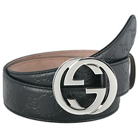 NEW GUCCI GUCCISSIMA BLACK LEATHER INTERLOCKING G PALLADIUM BUCKLE BELT 105/42