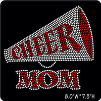 Cheer Mom iron on hot fix Rhinestone Transfers - DIY Cheer Transfers for Shirts - red Cheer applique heat transfers
